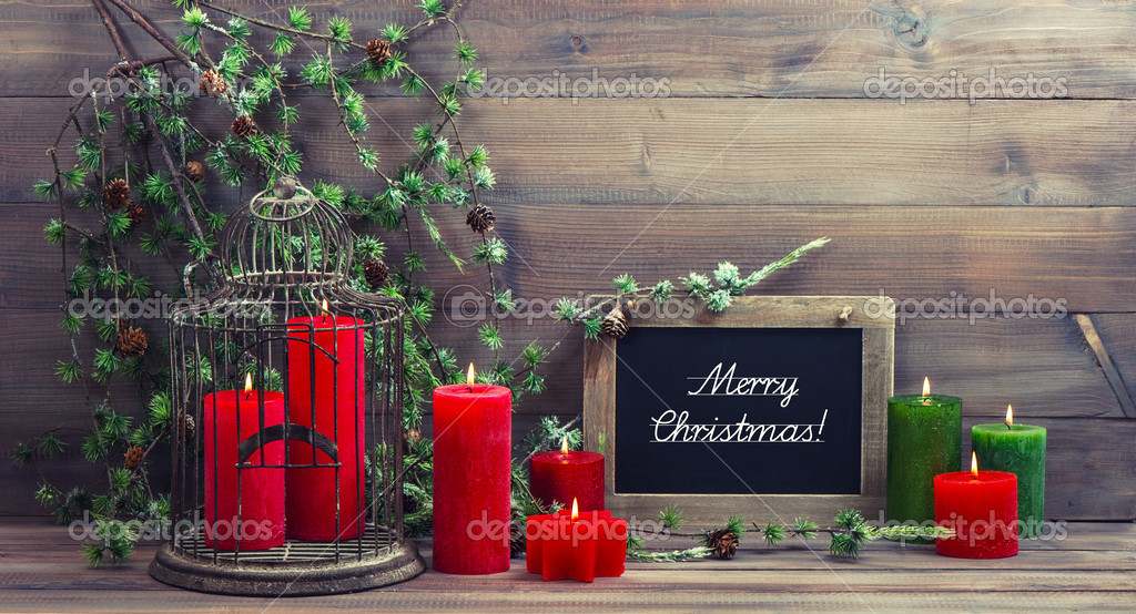 Vintage Christmas Decoration Birdcage And Red Candles Stock Photo