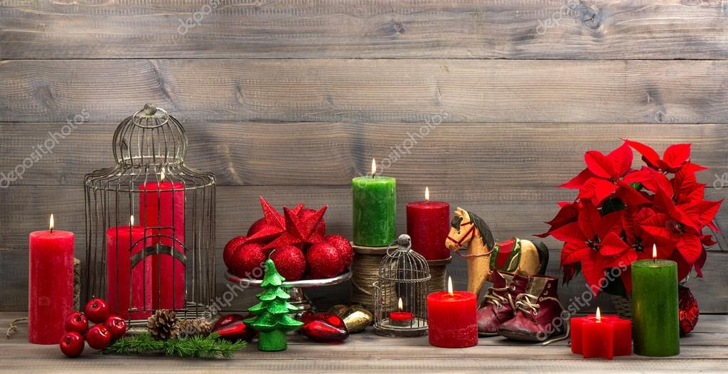 Vintage christmas decorations with red flower poinsettia — Stock Photo