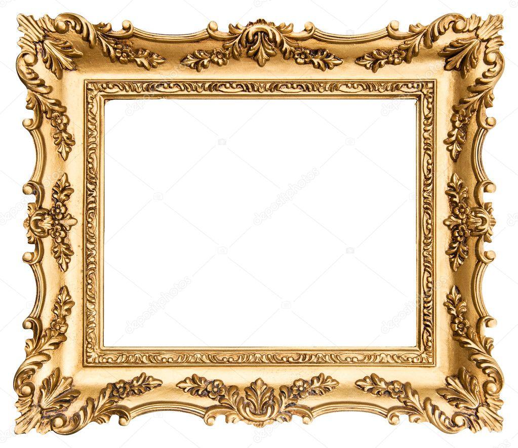 antiker goldener Rahmen isoliert auf weiss — Stockfoto © LiliGraphie ...