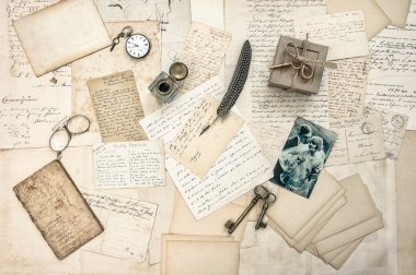 love story. old letters, vintage postcards