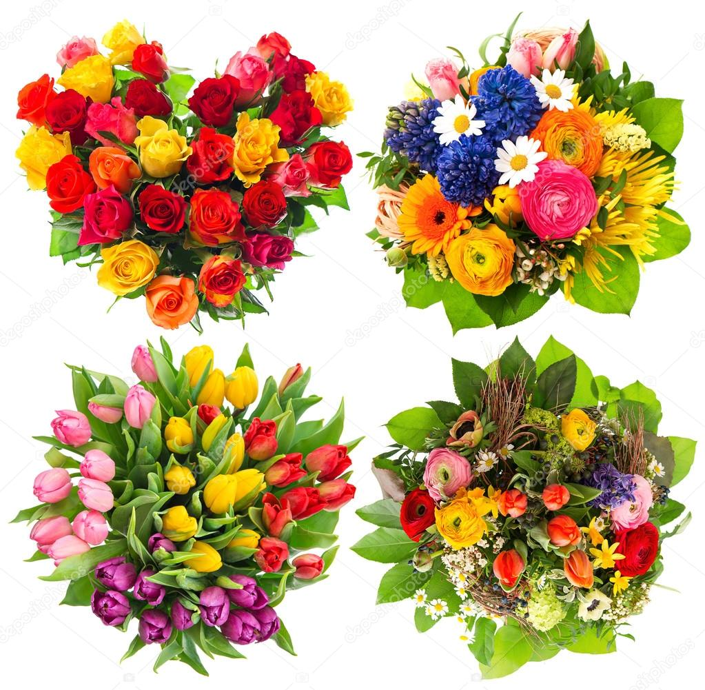 Flower Bouquets For Birthday Valentines Day Stock Photo