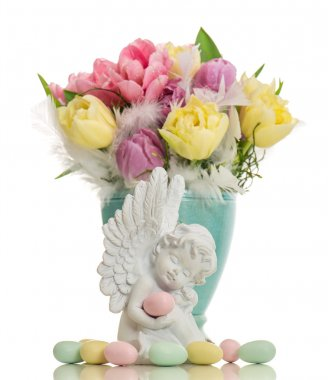 guardian angel with easter eggs and flowers