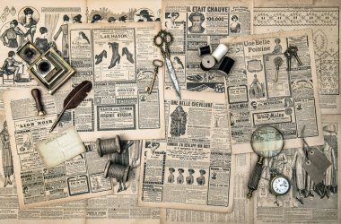 sewing and writing tools, vintage fashion magazine