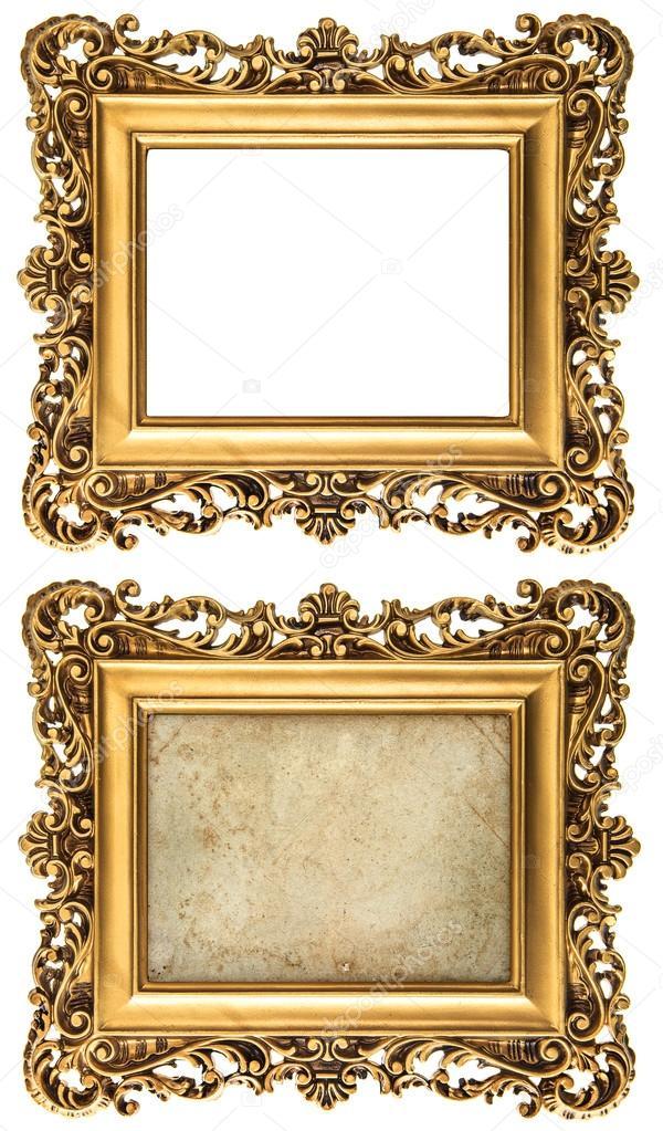 estilo barroco dorado marco vacío y con lona — Fotos de Stock ...