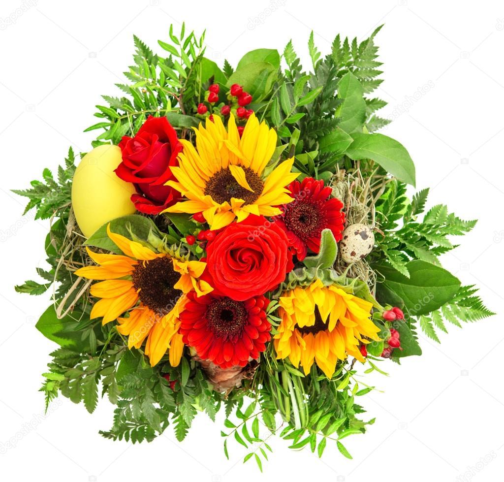 Top bouquet de fleurs printanier coloré. tournesol, roses, gerber  GN82