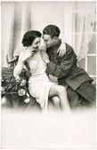 mladý romantické erotické sexy pár. starožitný sépiový obrázek
