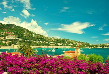 French flower coast, view of small city near Nice and Monaco