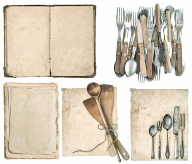 kitchen utensils, old cook book, antique cutlery