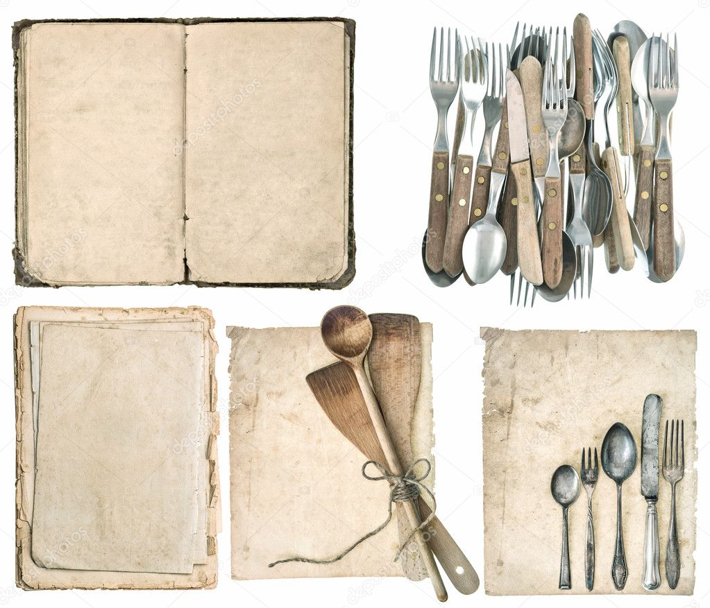 utensili da cucina, vecchio libro di cucina, posate antiche — Foto ...