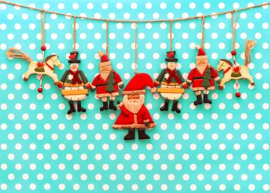 Christmas decoration with antique hand made wooden toys