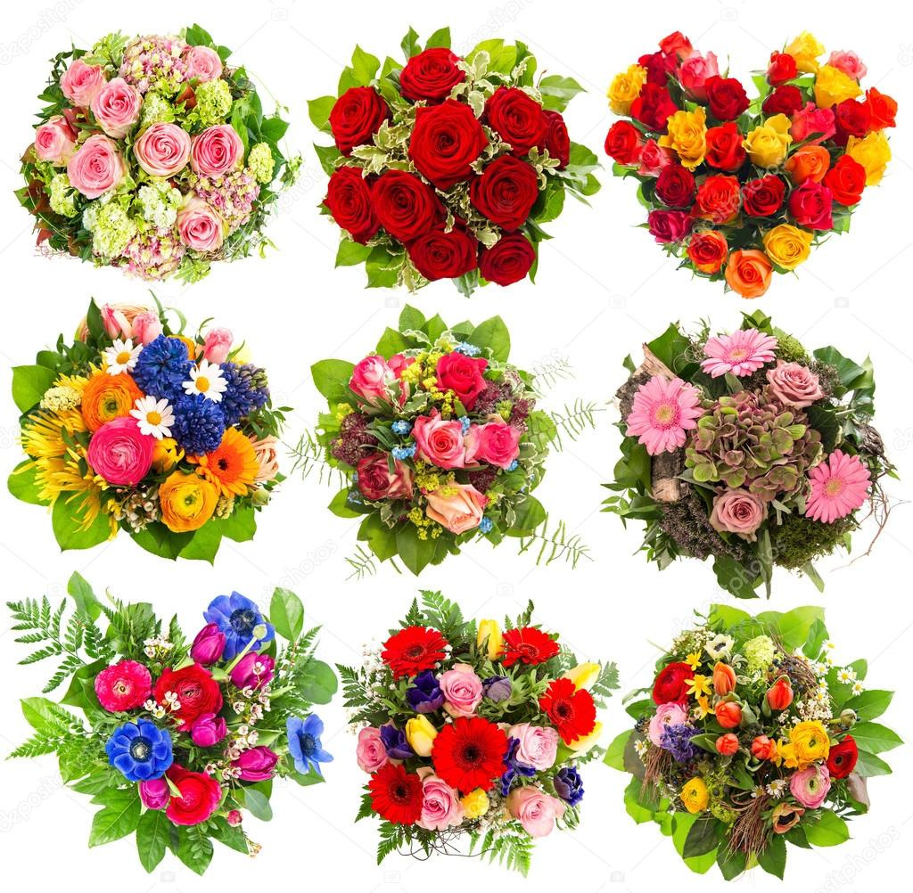 Neun Bunte Blumen Blumenstrauss Auf Weiss Stockfoto C Liligraphie