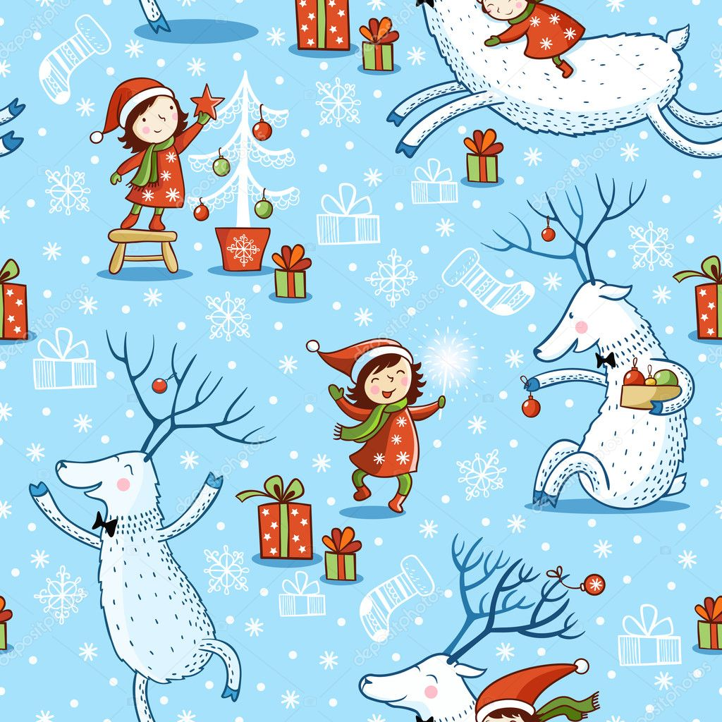 Seamless Pattern with girl and deer.