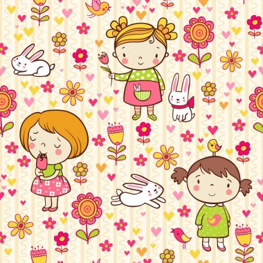Seamless pattern with girl, flowers and bunnies