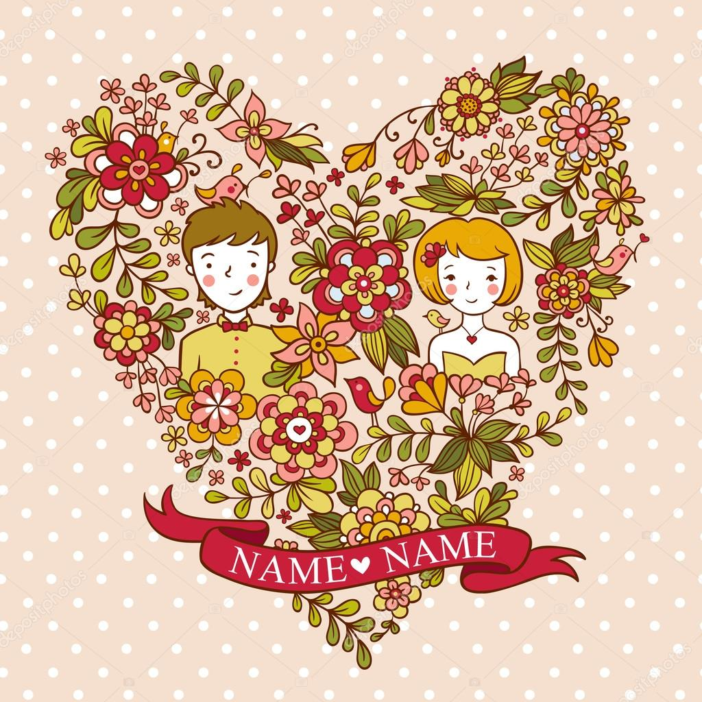 Wedding invitation card with flowers and birds.