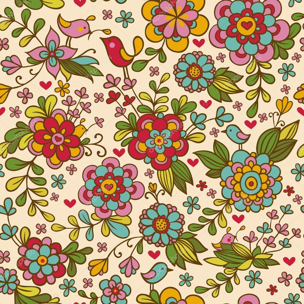 Vintage floral seamless pattern. Vector.