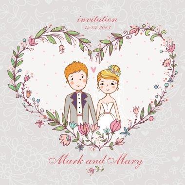 Wedding invitation with bride, groom, flower.