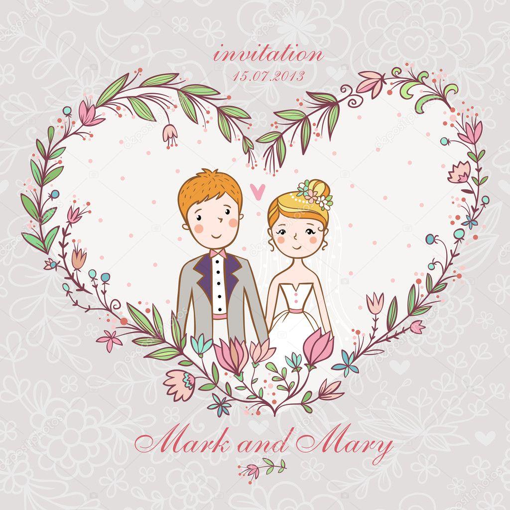 Wedding invitation with bride, groom, flower. — Stock Vector © svaga ...