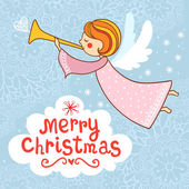 Photo Bright holiday background with small funny angel