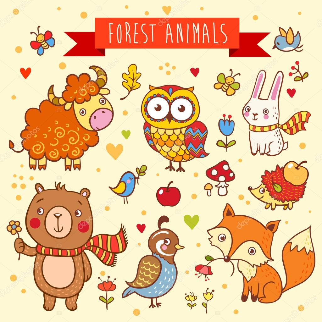 Vector set of wild animals in the forest