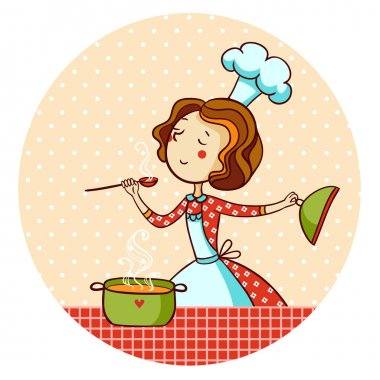 Woman cooking soup. Housewife cooking dinner. stock vector