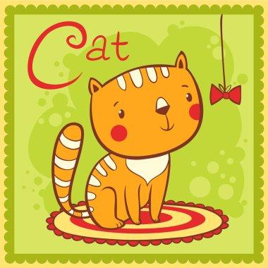 Alphabet letter C and cat.