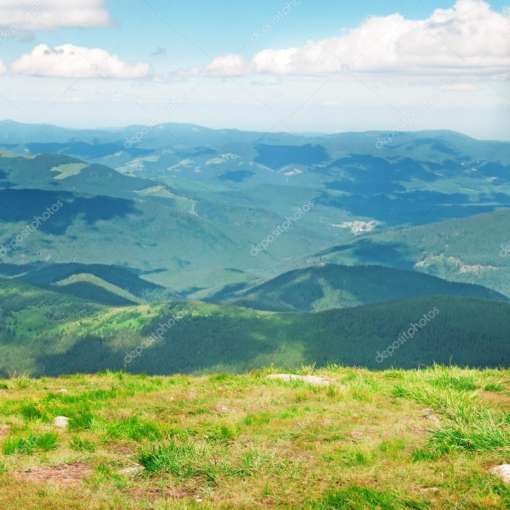 Mountain View From The Top Of Goverli Carpathians Stock Photo