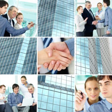 Collage of business team and office building stock vector