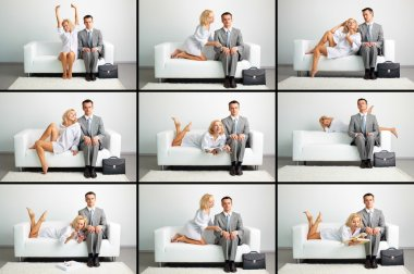 Collage of lovely woman and serious businessman on sofa in different situations stock vector