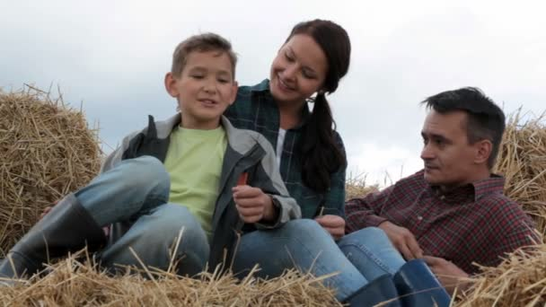Family on hay