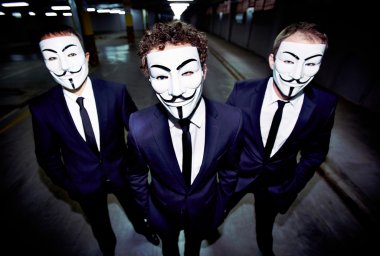 Masked guys Portrait of three guys