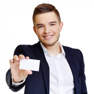 Man with blank card