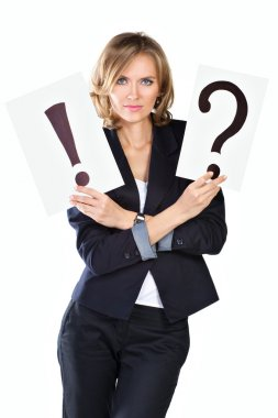 portrait businesswoman with question and exclamation mark