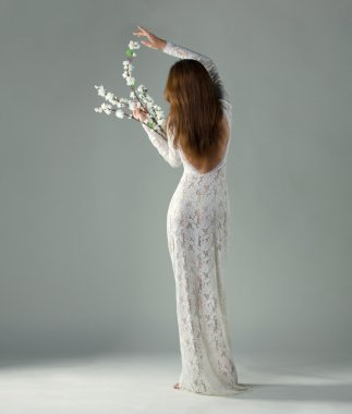 young woman, back view