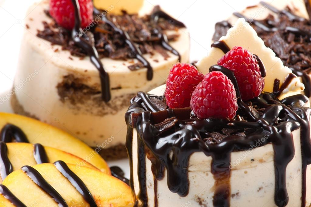 cakes with chocolate and fruits
