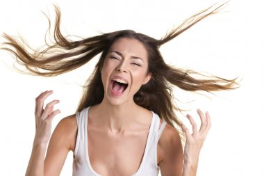 portrait of a screaming woman