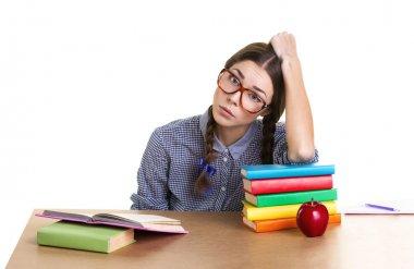 teen girl studing