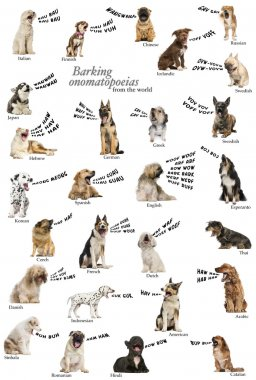 Composition of dog barking onomatopoeias from the world, english