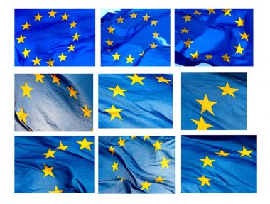 Various fragments of EU flag on a white background (isolated) stock vector