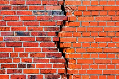 Brick wall with a crack