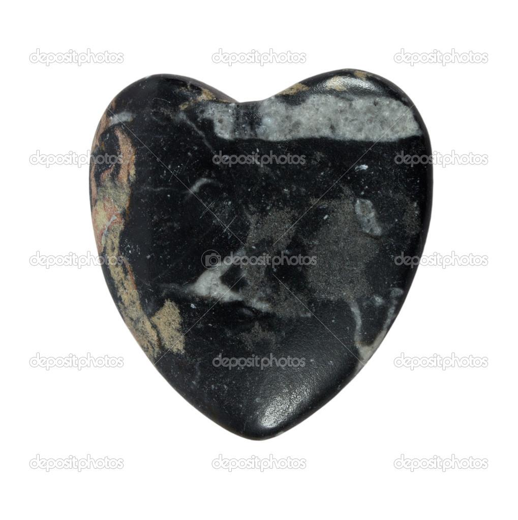 Coraz n de piedra de granito negro sobre fondo blanco for Piedra granito negro
