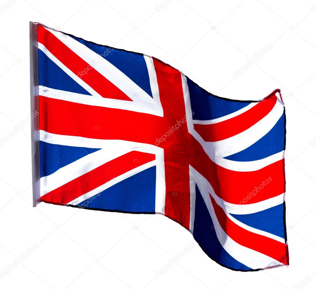 Bandiera Inglese Al Vento Su Sfondo Bianco Foto Stock Wlad74
