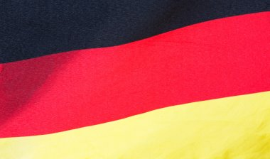 German flag in wind close-up