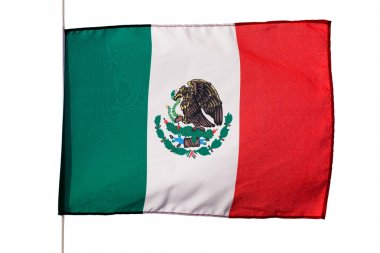 Mexican flag in wind on white background