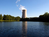 Summer pond against nuclear plant