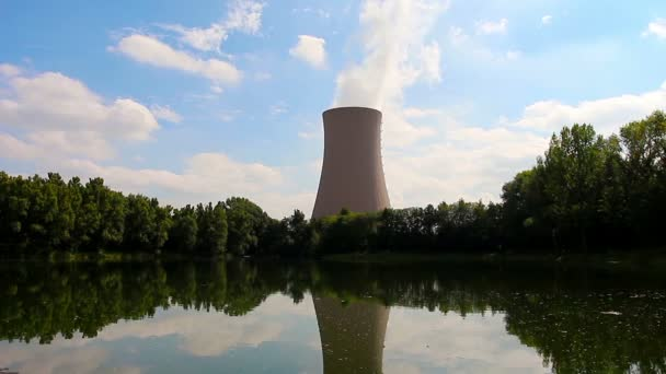 Summer pond against nuclear power plant