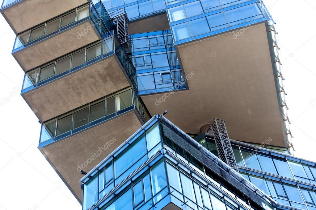 The modern architecture of the office building