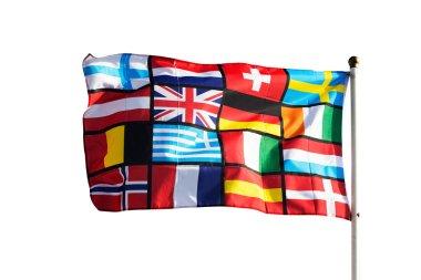 Pan European flag against on white background