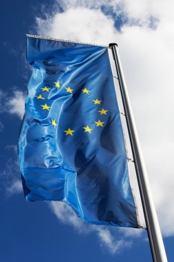 The flag of the European Union against the sky stock vector