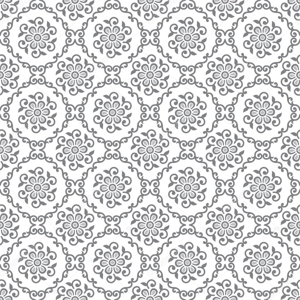 Seamless Silver Floral Royal Wallpaper Stock Vector