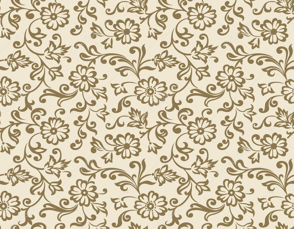 Seamless Vector Fancy Floral Wallpaper Stock
